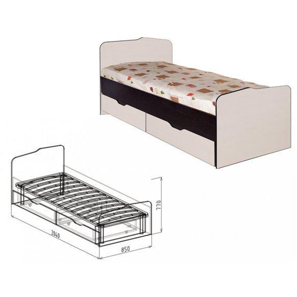 Кровать 0,8 с ящиками №23 Статус