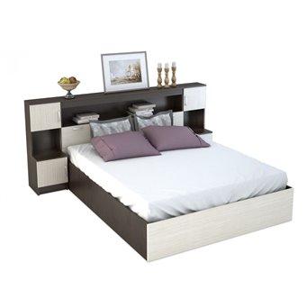 Бася Кровать 1,6м с надстройкой с тумбами