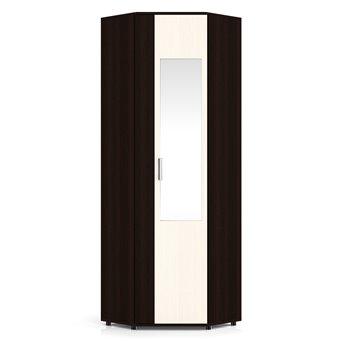 Пэ Пять Шкаф угловой с зеркалом, венге/дуб, универсальная дверь