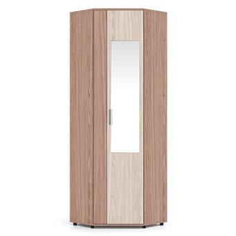 Пэ Пять Шкаф угловой с зеркалом, ясень шимо, универсальная дверь