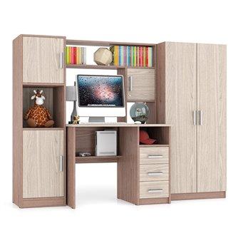Компьютерный стол с пеналом и шкафом МД-СК-9 ясень шимо
