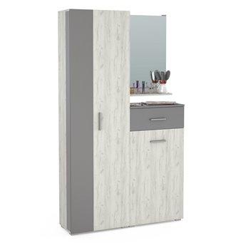 Юнона Прихожая 5, шкаф + комод + зеркало, дуб белый/серый шифер