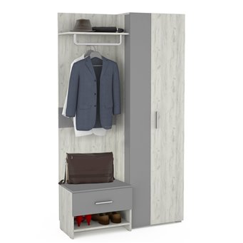 Юнона Прихожая 6, шкаф + вешалка + тумба, дуб белый/серый шифер