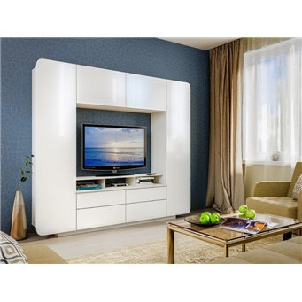 Гостиная Румба (Шкаф комбинированный 03.272), белый/белый глянец