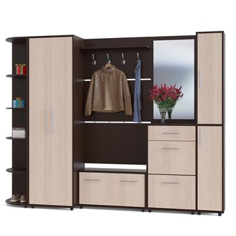 Много мебели для прихожей серии ВШ-3 дуб венге/белёный дуб