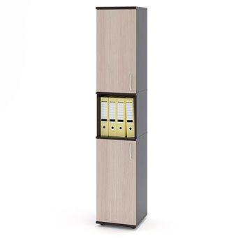 Стеллаж для офиса Сокол ШУ-12, дуб венге/белёный дуб, дверь сверху и дверь снизу, универсальная сборка