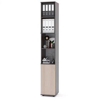 Стеллаж офисный Сокол ШУ-31, дуб венге/белёный дуб, дверь снизу, универсальная сборка