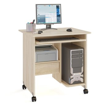 Стол компьютерный на поворотных колёсах Ристер-1 КСТ-10-1 дуб сонома