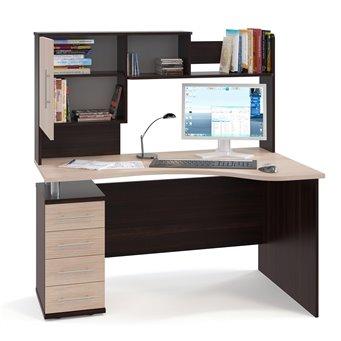 Угловой стол с надстройкой КСТ-104+КН-14 дуб венге/белёный дуб
