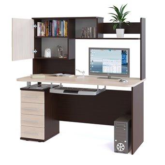 Компьютерный стол с надстройкой КСТ-105+КН-14 дуб венге/белёный дуб, универсальная сборка