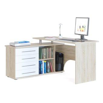 Угловой стол компьютерный с тумбой КСТ-109 дуб сонома/белый