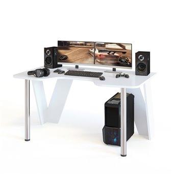 Стол компьютерный игровой с металлическими опорами КСТ-116 белый
