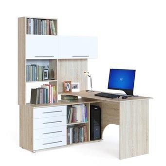 Угловой компьютерный стол с тумбой и надстройкой КСТ-14 дуб сонома/белый