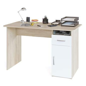 Стол компьютерный с тумбой СПМ-03 дуб сонома/белый