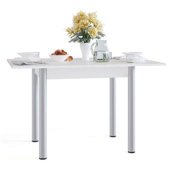 Стол обеденный на металлических опорах СО-1м раскладной белый