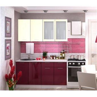 Кухня Глянец белый/бордо