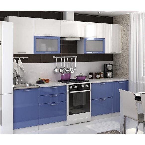 Кухня Глянец белый/сизый