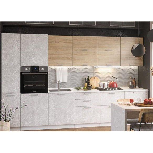 Кухня Бетон белый/сонома