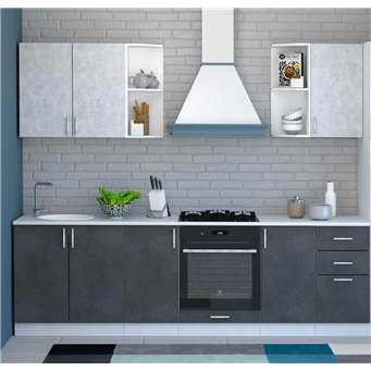 Кухня Бетон белый/графит
