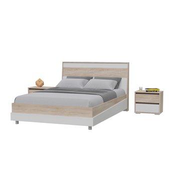 Кровать 1400 Мальта с основанием и тумбочками дуб сонома/рамух белый МДФ