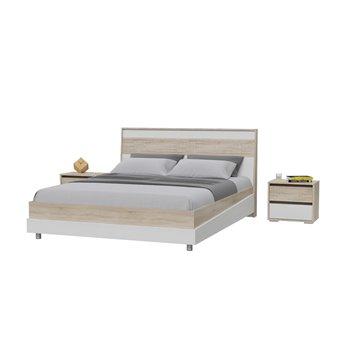 Кровать 1600 Мальта с основанием и тумбочками дуб сонома/рамух белый МДФ