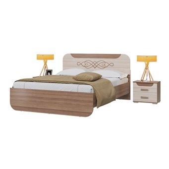 Кровать Пальмира с основанием и тумбочками ясень шимо тёмный/светлый