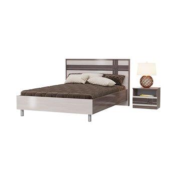 Кровать Презент 1400 с основанием и тумбочкой бодега тёмный/бодега светлый