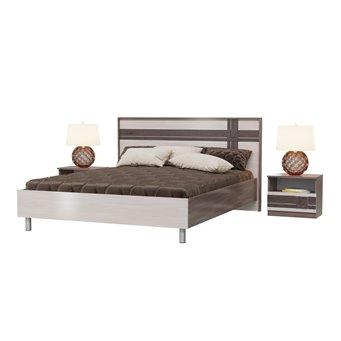 Кровать Презент 1600 с основанием и тумбочками бодега тёмный/бодега светлый