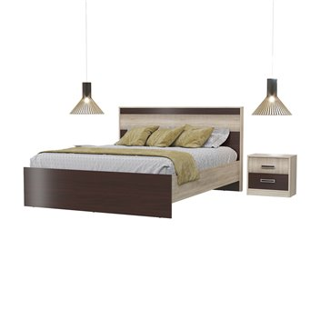 Кровать Румба 1600 с основанием и тумбочками дуб сонома/венге