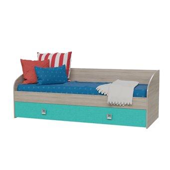 Сити Кровать односпальная с двумя ящиками, дуб сонома/аква