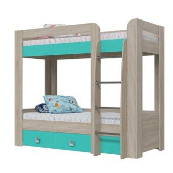 Сити Кровать 2-х ярусная с двумя ящиками, дуб сонома/аква