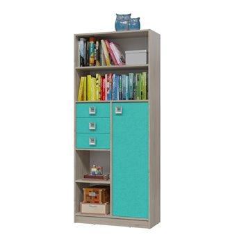 Сити Шкаф стеллаж с дверкой и ящиками, дуб сонома/аква