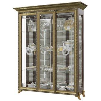 Шкаф 3-х дверный двери стекло Версаль ГВ-04 цвет орех тайский