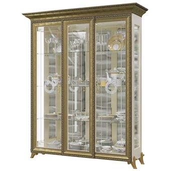 Шкаф 3-х дверный двери стекло Версаль ГВ-04 цвет слоновая кость