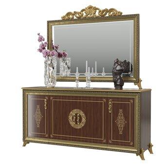 Комод 4-х дверный с зеркалом с короной Версаль цвет орех тайский