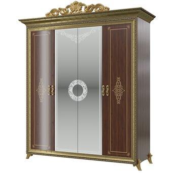 Шкаф 4-х дверный с короной Версаль СВ-01К цвет орех тайский