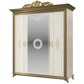 Шкаф 4-х дверный с короной Версаль СВ-01К цвет слоновая кость
