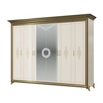 Шкаф 6-ти дверный Версаль цвет слоновая кость