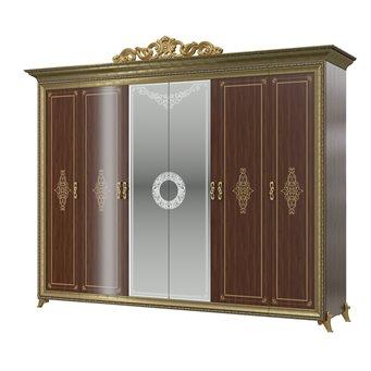 Шкаф 6-ти дверный с короной Версаль цвет орех тайский