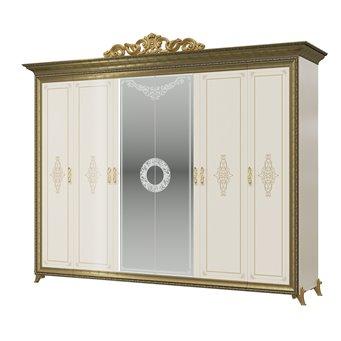 Шкаф 6-ти дверный с короной Версаль цвет слоновая кость