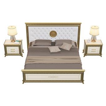 Кровать 1800 с основанием и тумбами Версаль цвет слоновая кость мягкое изголовье