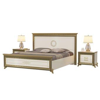 Кровать 1800 с основанием и тумбами Версаль цвет слоновая кость изголовье шёлкография