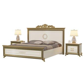 Кровать 1800 с короной с основанием и тумбами Версаль цвет слоновая кость изголовье шёлкография