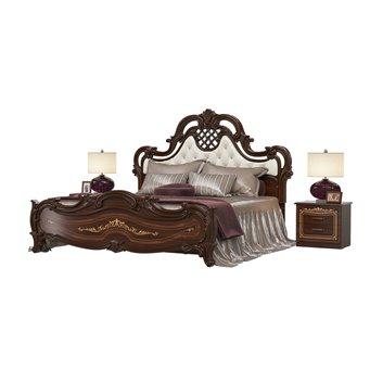 Кровать Грация 1800 с основанием и двумя тумбами цвет орех тайский мягкое изголовье