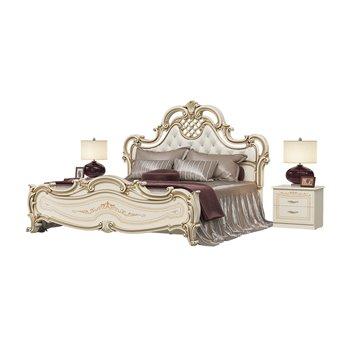 Кровать Грация 1800 с основанием и двумя тумбами цвет слоновая кость мягкое изголовье