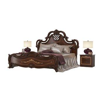Кровать Грация 1800 с основанием и двумя тумбами цвет орех тайский изголовье шёлкография