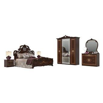 Спальный гарнитур Грация № 1ОРТ цвет орех тайский кровать с основанием