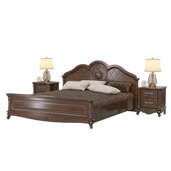 Кровать с двумя тумбочками Да Винчи 1800 с основанием цвет орех