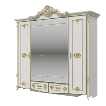 Дольче Вита СДВ-01 Шкаф 5-ти дверный, цвет белый глянец с золотом