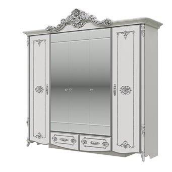 Дольче Вита СДВ-01 Шкаф 5-ти дверный, цвет белый глянец с серебром